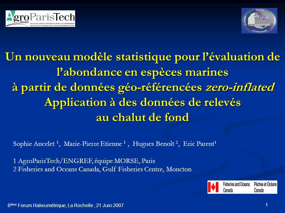 1 Un nouveau modèle statistique pour lévaluation de labondance en espèces marines à partir de données géo-référencées zero-inflated Application à des