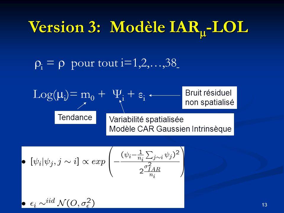 13 Tendance Variabilité spatialisée Modèle CAR Gaussien Intrinsèque Bruit résiduel non spatialisé i = pour tout i=1,2,…,38 Log( i )= m 0 + Ψ i + ε i Version 3: Modèle IAR -LOL n i = nombre de strates voisines de la strate i