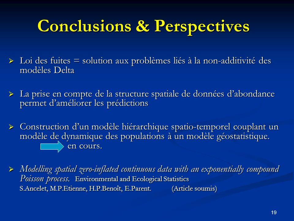 19 Conclusions & Perspectives Loi des fuites = solution aux problèmes liés à la non-additivité des modèles Delta Loi des fuites = solution aux problèm