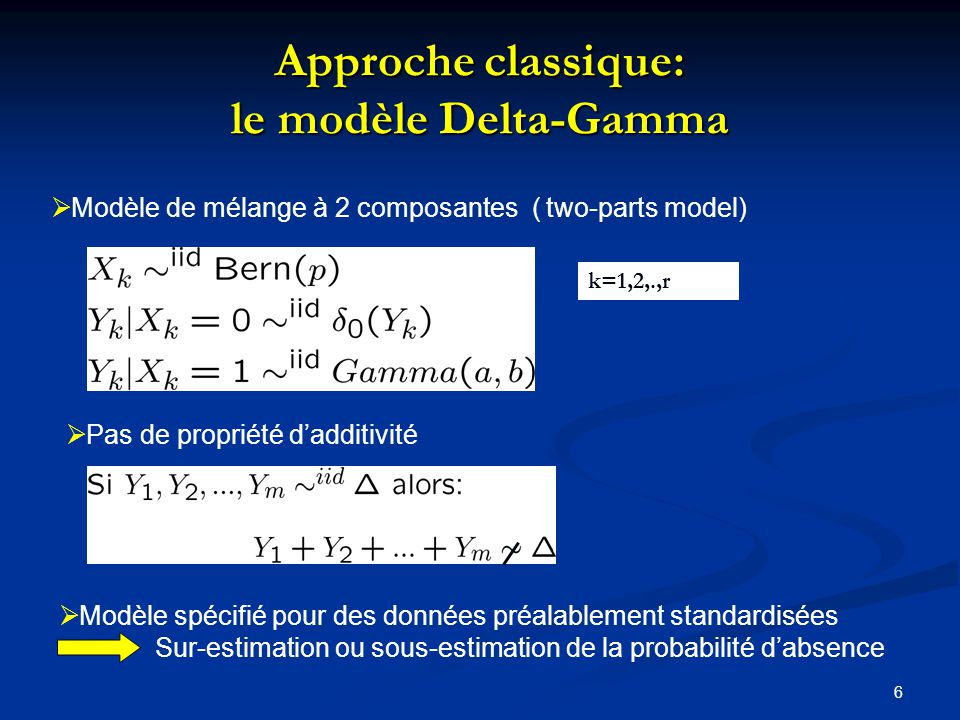 6 Approche classique: le modèle Delta-Gamma Modèle de mélange à 2 composantes ( two-parts model) k=1,2,.,r Pas de propriété dadditivité Modèle spécifié pour des données préalablement standardisées Sur-estimation ou sous-estimation de la probabilité dabsence