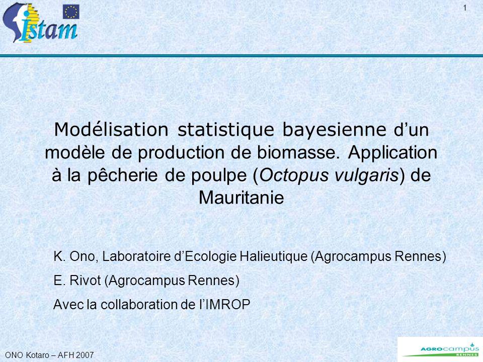 ONO Kotaro – AFH 2007 12 Générer des trajectoires de B & IA Pour chaque combinaison de paramètres, des trajectoires de B & IA sont générées aléatoirement (grâce à e ε1 et e ε2 ) Nb de trajectoires : 10 (problème de temps de calcul) Trajectoire de BiomasseTrajectoire dIA