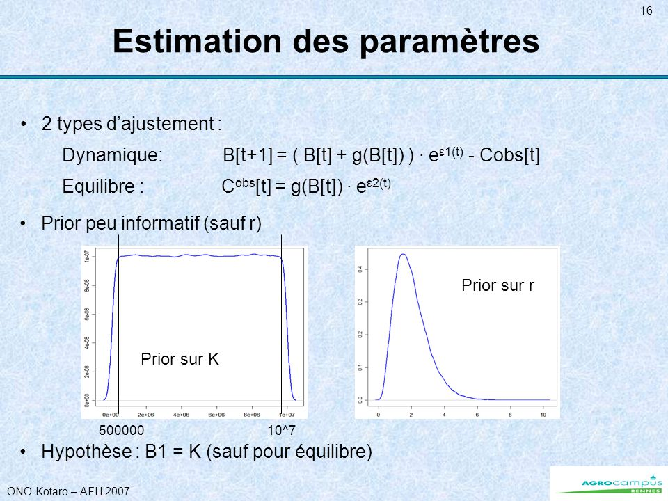 ONO Kotaro – AFH 2007 16 Equilibre : C obs [t] = g(B[t]) · e ε2(t) Dynamique: B[t+1] = ( B[t] + g(B[t]) ) · e ε1(t) - Cobs[t] Prior peu informatif (sauf r) Hypothèse : B1 = K (sauf pour équilibre) Estimation des paramètres 2 types dajustement : Prior sur K Prior sur r 50000010^7