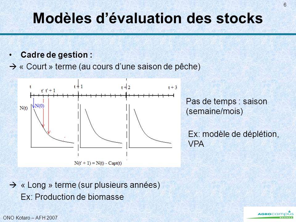 ONO Kotaro – AFH 2007 6 Modèles dévaluation des stocks Cadre de gestion : « Court » terme (au cours dune saison de pêche) « Long » terme (sur plusieurs années) Ex: Production de biomasse Pas de temps : saison (semaine/mois) Ex: modèle de déplétion, VPA