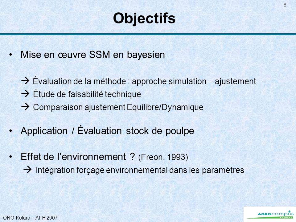 ONO Kotaro – AFH 2007 8 Objectifs Mise en œuvre SSM en bayesien Évaluation de la méthode : approche simulation – ajustement Étude de faisabilité techn