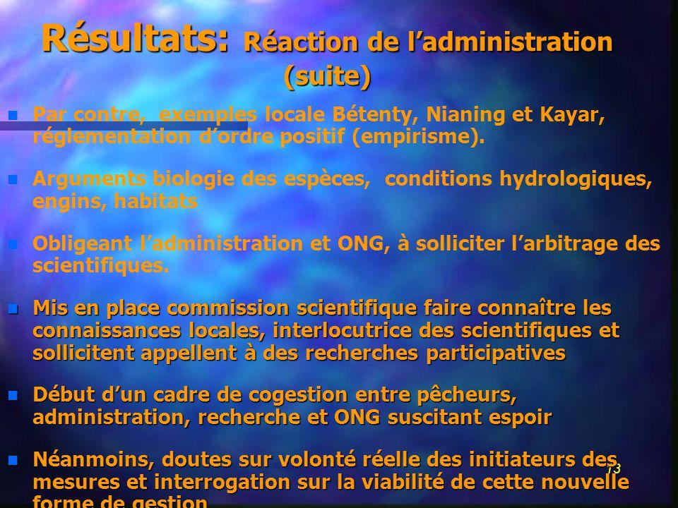 13 Résultats: Réaction de ladministration (suite) n n Par contre, exemples locale Bétenty, Nianing et Kayar, réglementation dordre positif (empirisme).