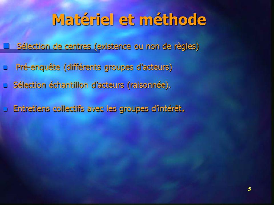 5 Matériel et méthode n Sélection de centres (existence ou non de règles) n Pré-enquête (différents groupes dacteurs) n Sélection échantillon dacteurs (raisonnée).