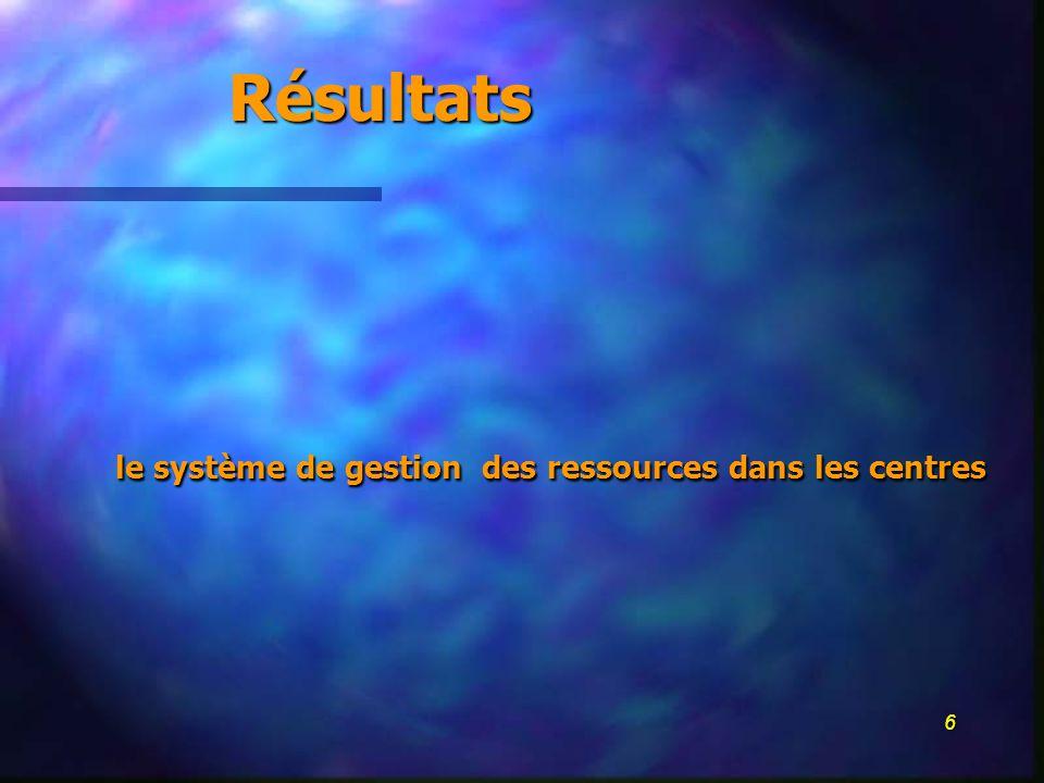 6 le système de gestion des ressources dans les centres Résultats