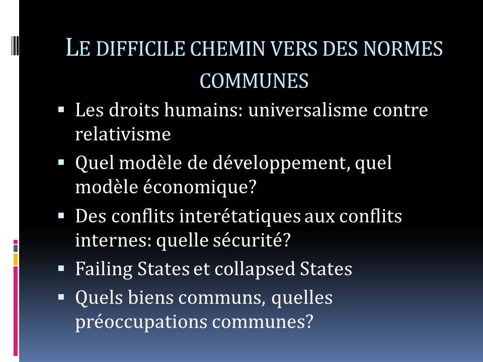 L E DIFFICILE CHEMIN VERS DES NORMES COMMUNES Les droits humains: universalisme contre relativisme Quel modèle de développement, quel modèle économique.