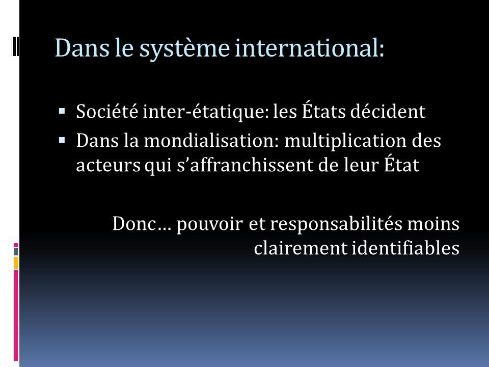 Dans le système international: Société inter-étatique: les États décident Dans la mondialisation: multiplication des acteurs qui saffranchissent de leur État Donc… pouvoir et responsabilités moins clairement identifiables