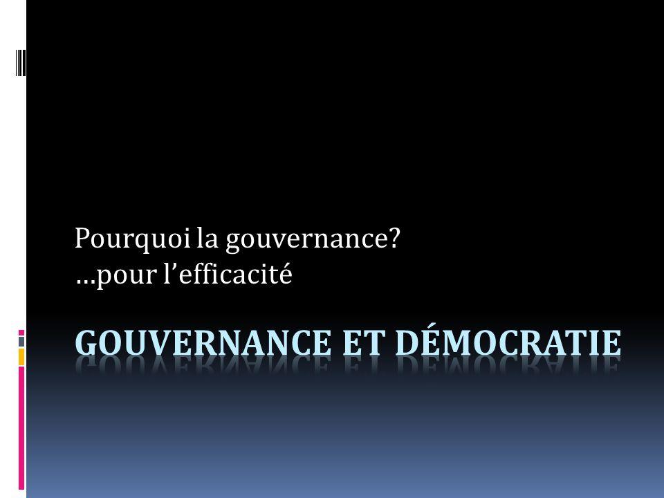 Pourquoi la gouvernance …pour lefficacité