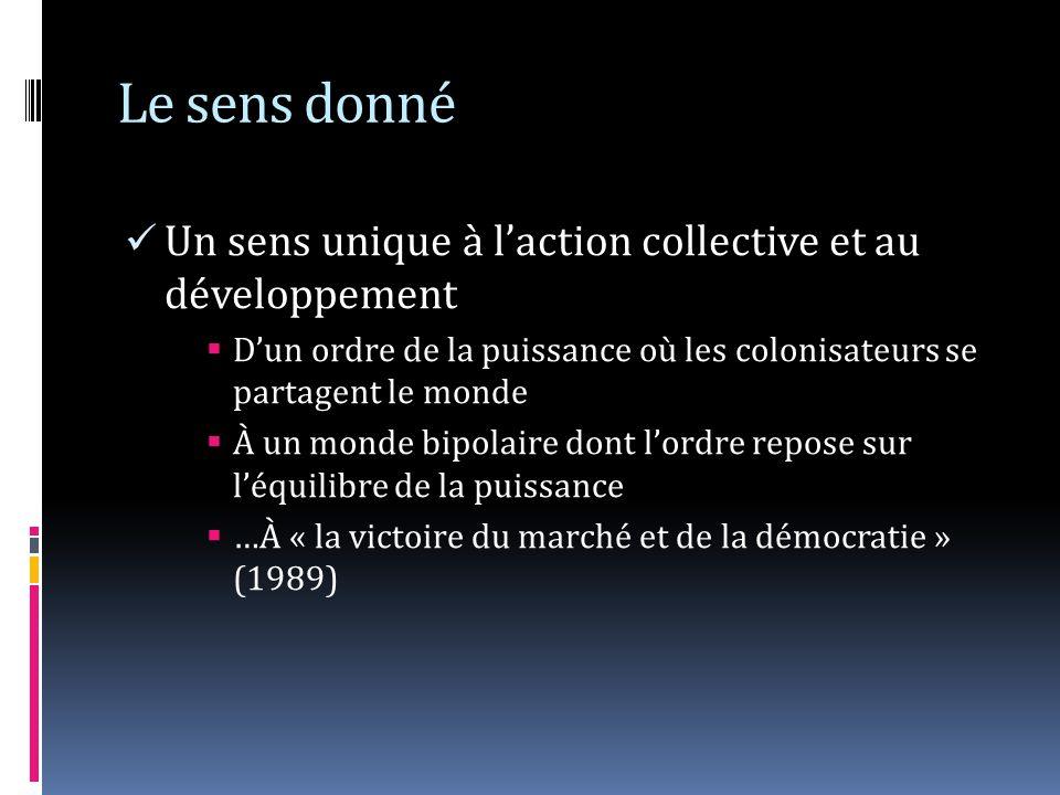 Le sens donné Un sens unique à laction collective et au développement Dun ordre de la puissance où les colonisateurs se partagent le monde À un monde bipolaire dont lordre repose sur léquilibre de la puissance …À « la victoire du marché et de la démocratie » (1989)