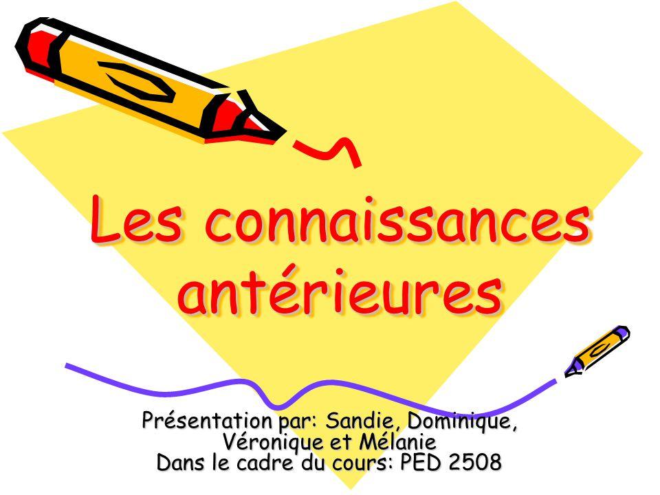 Les connaissances antérieures Présentation par: Sandie, Dominique, Véronique et Mélanie Dans le cadre du cours: PED 2508