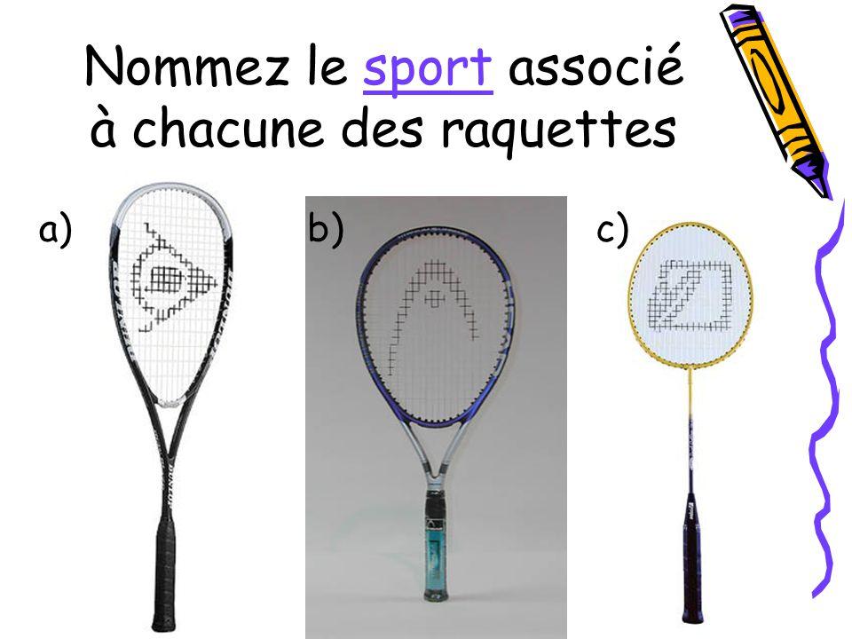 Nommez le sport associé à chacune des raquettes a)b)c)