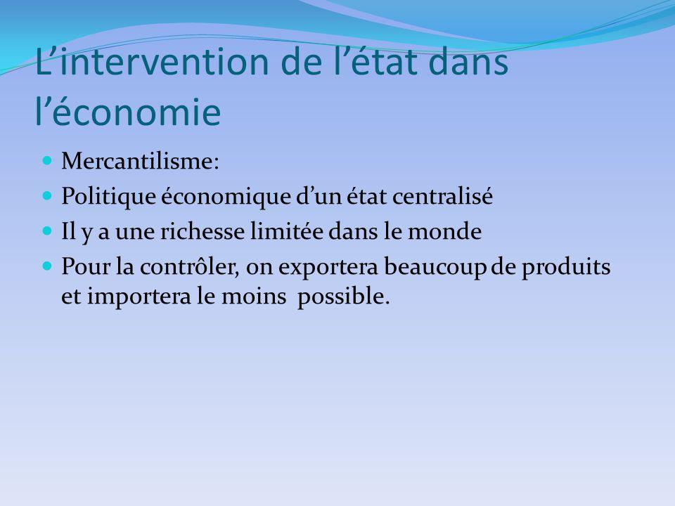 Lintervention de létat dans léconomie Mercantilisme: Politique économique dun état centralisé Il y a une richesse limitée dans le monde Pour la contrô