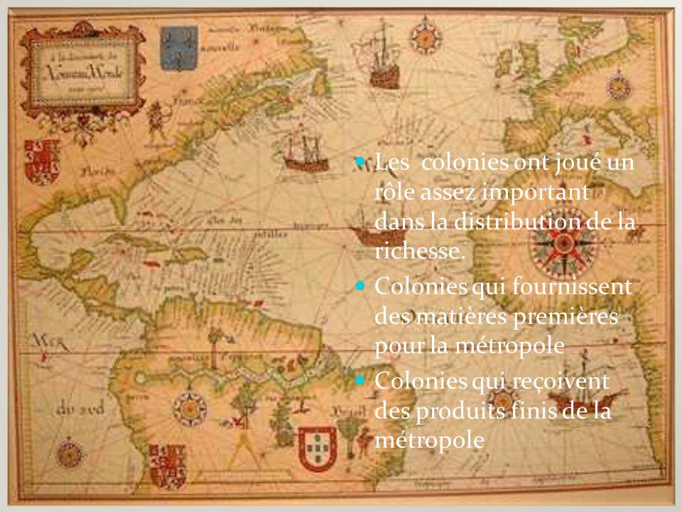 Le rôle des colonies Les colonies ont joué un rôle assez important dans la distribution de la richesse. Colonies qui fournissent des matières première