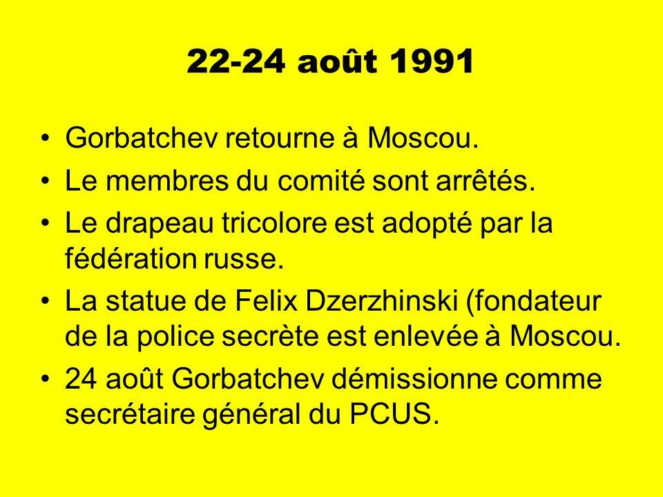 22-24 août 1991 Gorbatchev retourne à Moscou. Le membres du comité sont arrêtés.