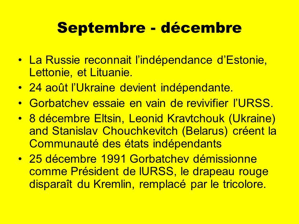 Septembre - décembre La Russie reconnait lindépendance dEstonie, Lettonie, et Lituanie.