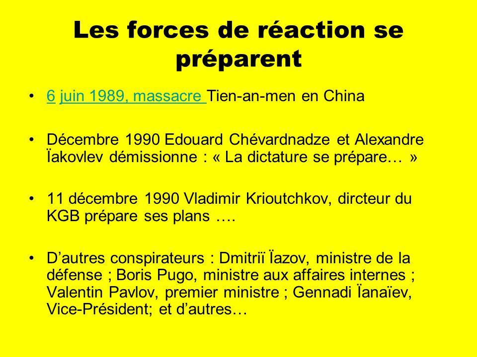 Les forces de réaction se préparent 6 juin 1989, massacre Tien-an-men en China6juin 1989, massacre Décembre 1990 Edouard Chévardnadze et Alexandre Ïakovlev démissionne : « La dictature se prépare… » 11 décembre 1990 Vladimir Krioutchkov, dircteur du KGB prépare ses plans ….