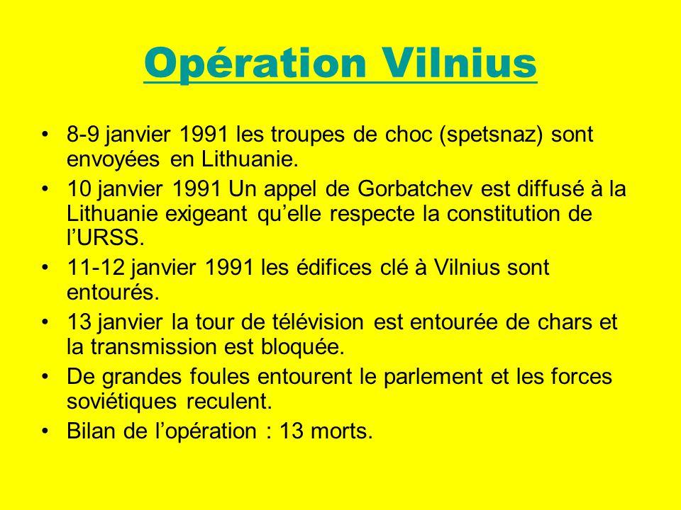 Opération Vilnius 8-9 janvier 1991 les troupes de choc (spetsnaz) sont envoyées en Lithuanie.