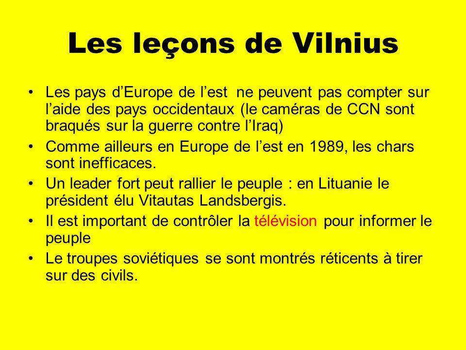 Les leçons de Vilnius Les pays dEurope de lest ne peuvent pas compter sur laide des pays occidentaux (le caméras de CCN sont braqués sur la guerre contre lIraq) Comme ailleurs en Europe de lest en 1989, les chars sont inefficaces.