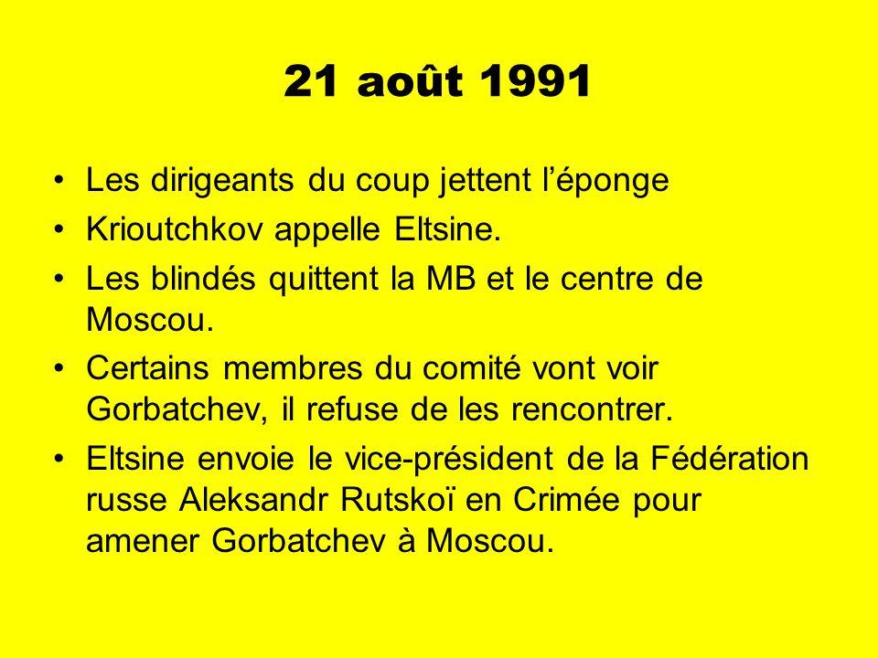 22-24 août 1991 Gorbatchev retourne à Moscou.Le membres du comité sont arrêtés.