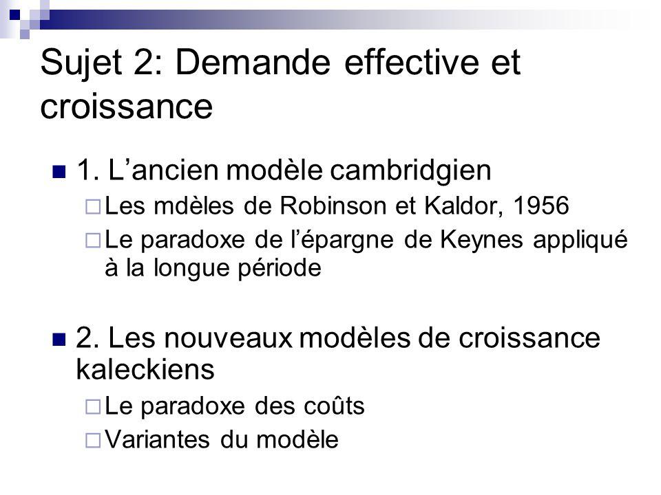 Sujet 2: Demande effective et croissance 1. Lancien modèle cambridgien Les mdèles de Robinson et Kaldor, 1956 Le paradoxe de lépargne de Keynes appliq