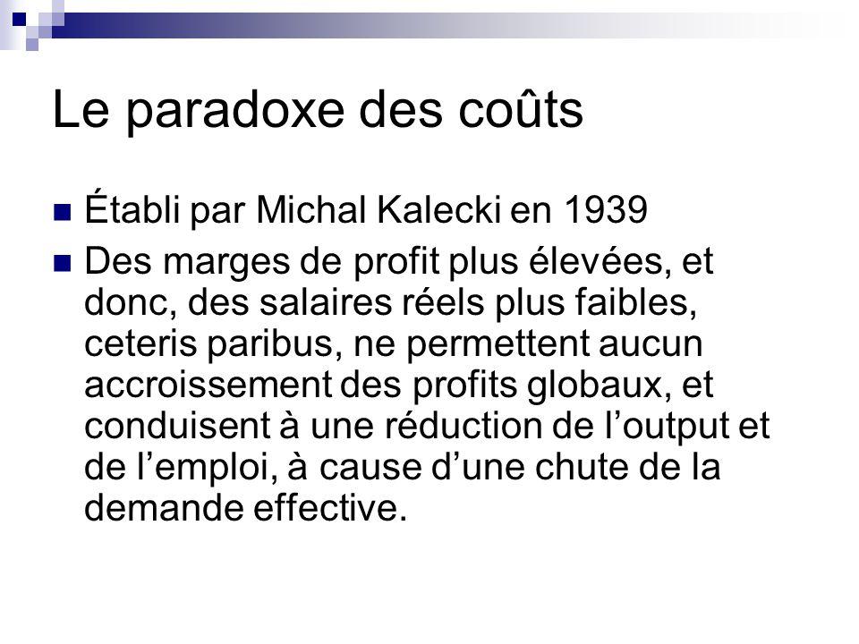 Le paradoxe des coûts Établi par Michal Kalecki en 1939 Des marges de profit plus élevées, et donc, des salaires réels plus faibles, ceteris paribus,