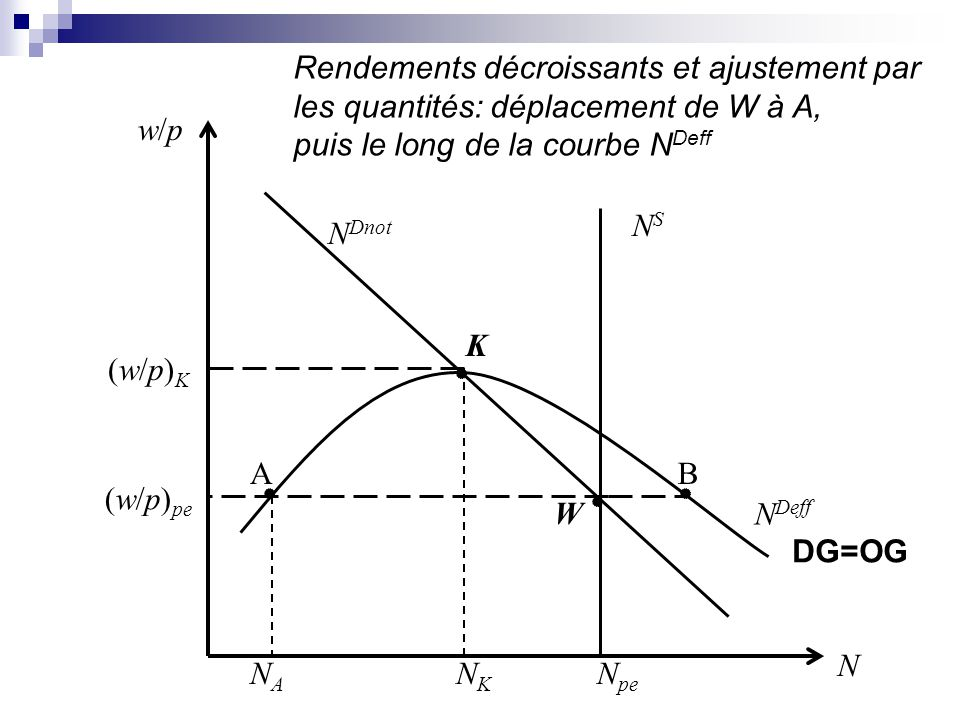 N pe NSNS N Dnot N Deff w/pw/p NKNK NANA (w/p)K(w/p)K (w/p) pe W K N AB Rendements décroissants et ajustement par les quantités: déplacement de W à A,