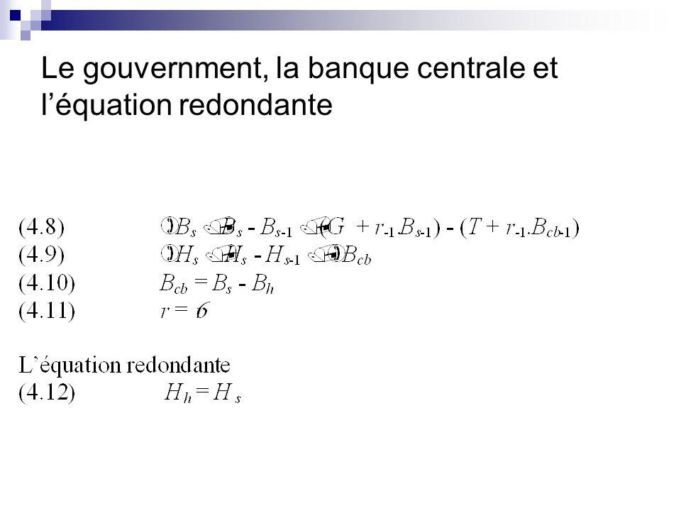Le gouvernment, la banque centrale et léquation redondante