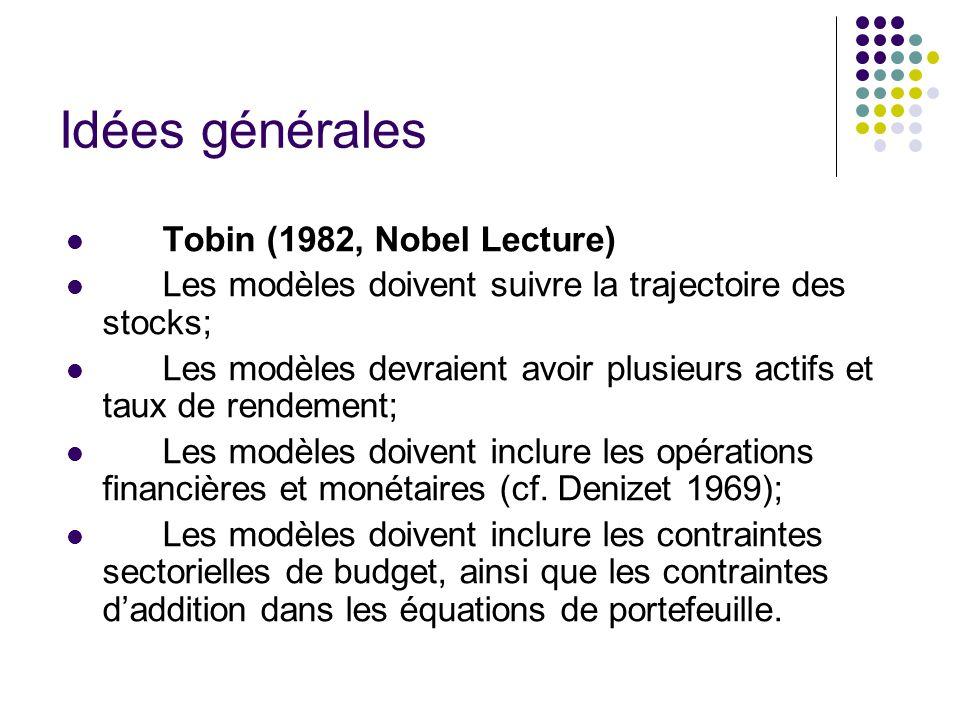 Idées générales Tobin (1982, Nobel Lecture) Les modèles doivent suivre la trajectoire des stocks; Les modèles devraient avoir plusieurs actifs et taux de rendement; Les modèles doivent inclure les opérations financières et monétaires (cf.