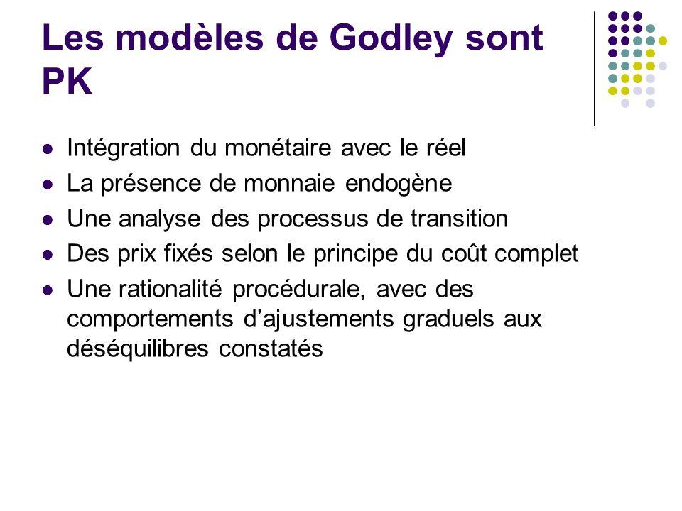 Les modèles de Godley sont PK Intégration du monétaire avec le réel La présence de monnaie endogène Une analyse des processus de transition Des prix fixés selon le principe du coût complet Une rationalité procédurale, avec des comportements dajustements graduels aux déséquilibres constatés