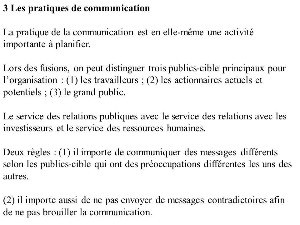3 Les pratiques de communication La pratique de la communication est en elle-même une activité importante à planifier.