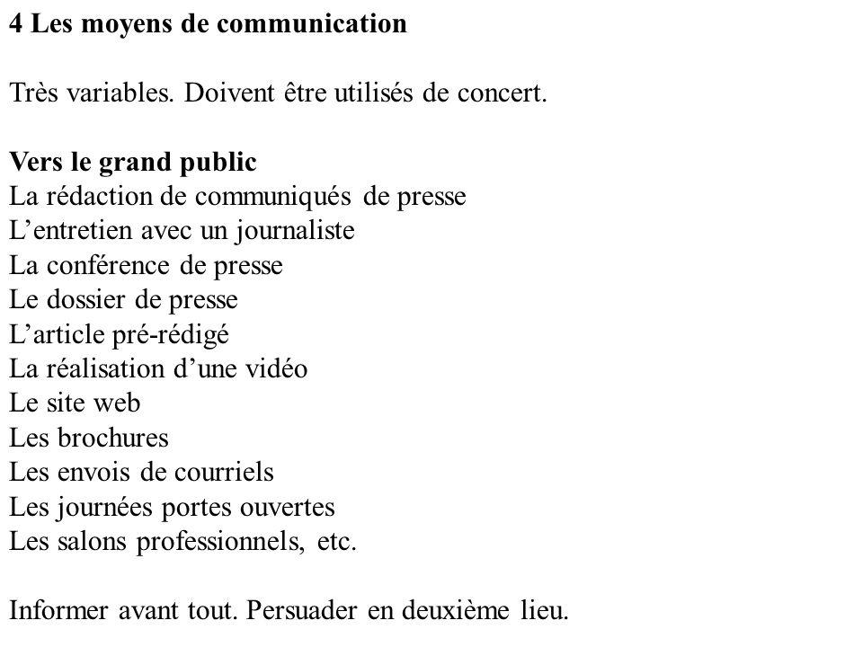 4 Les moyens de communication Très variables. Doivent être utilisés de concert.