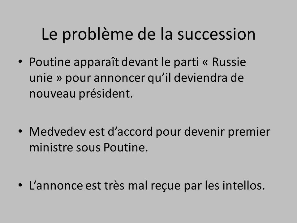 Le problème de la succession Poutine apparaît devant le parti « Russie unie » pour annoncer quil deviendra de nouveau président.