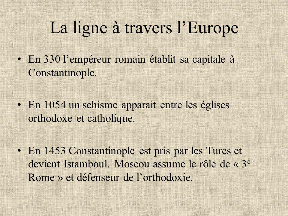La ligne à travers lEurope En 330 lempéreur romain établit sa capitale à Constantinople. En 1054 un schisme apparait entre les églises orthodoxe et ca