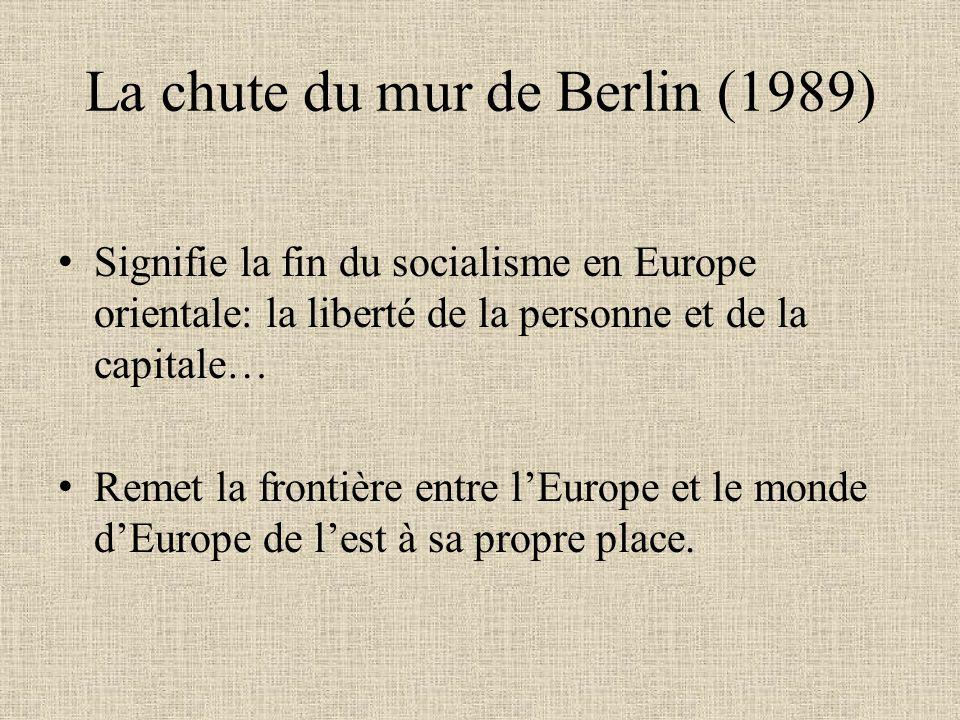 La chute du mur de Berlin (1989) Signifie la fin du socialisme en Europe orientale: la liberté de la personne et de la capitale… Remet la frontière en