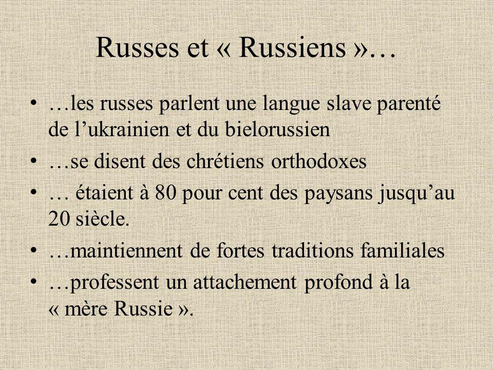 Russes et « Russiens »… …les russes parlent une langue slave parenté de lukrainien et du bielorussien …se disent des chrétiens orthodoxes … étaient à