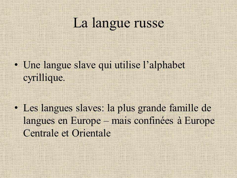 La langue russe Une langue slave qui utilise lalphabet cyrillique. Les langues slaves: la plus grande famille de langues en Europe – mais confinées à