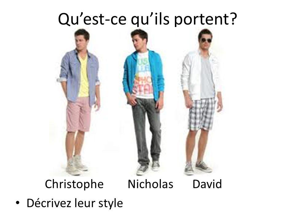 Le travail Quest-ce que vous portez aujourdhui? Je porte… Décrivez votre style!