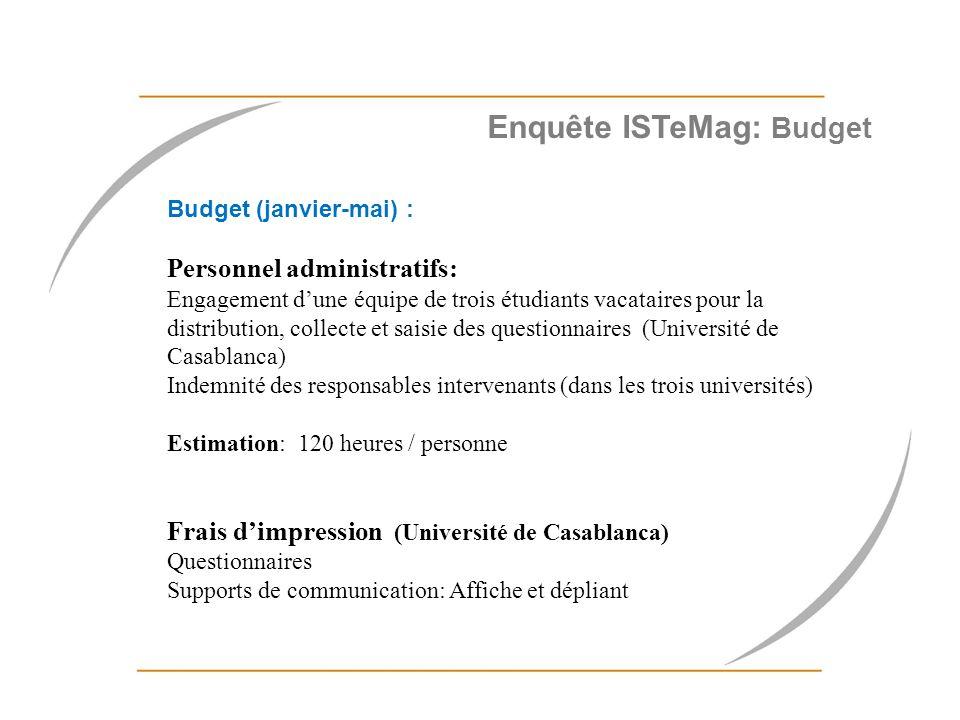 Alimentation du site web (juin-septembre) Budget pour la rémunération du webMaster Estimation : 5000 dh/par mois (6h par semaine) Cofinancement: Abonnements électroniques en cours: Université de Casablanca: Medline, Cochrane EM-Premium 15 000,00 euro Université de Rabat: EM-Premium 14 071.00 euro.