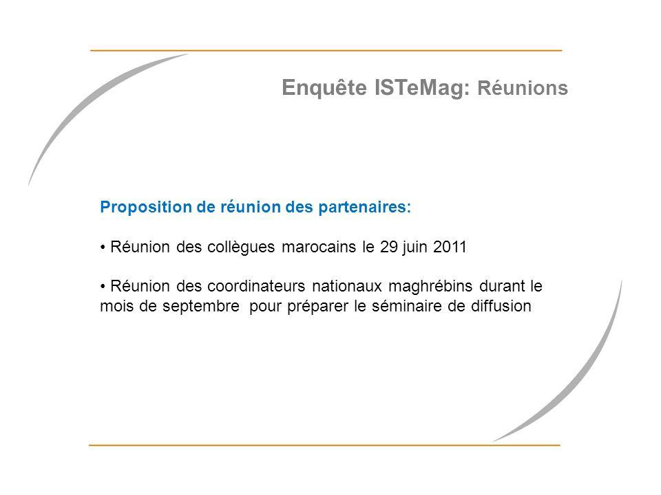 Proposition de réunion des partenaires: Réunion des collègues marocains le 29 juin 2011 Réunion des coordinateurs nationaux maghrébins durant le mois
