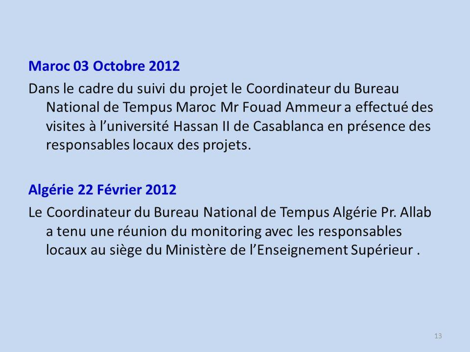 Maroc 03 Octobre 2012 Dans le cadre du suivi du projet le Coordinateur du Bureau National de Tempus Maroc Mr Fouad Ammeur a effectué des visites à luniversité Hassan II de Casablanca en présence des responsables locaux des projets.