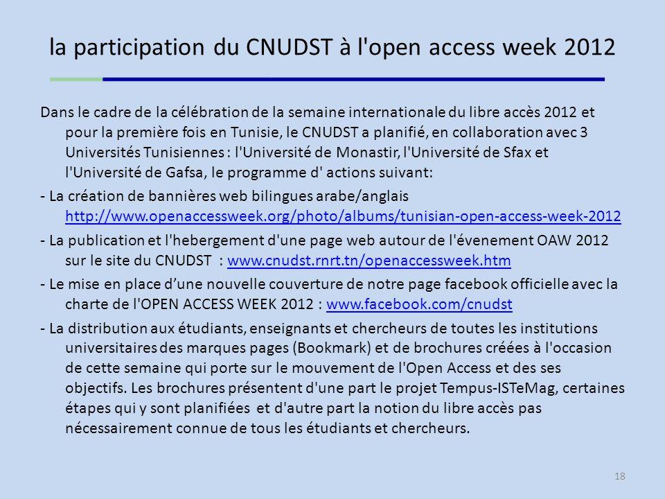 la participation du CNUDST à l open access week 2012 Dans le cadre de la célébration de la semaine internationale du libre accès 2012 et pour la première fois en Tunisie, le CNUDST a planifié, en collaboration avec 3 Universités Tunisiennes : l Université de Monastir, l Université de Sfax et l Université de Gafsa, le programme d actions suivant: - La création de bannières web bilingues arabe/anglais http://www.openaccessweek.org/photo/albums/tunisian-open-access-week-2012 http://www.openaccessweek.org/photo/albums/tunisian-open-access-week-2012 - La publication et l hebergement d une page web autour de l évenement OAW 2012 sur le site du CNUDST : www.cnudst.rnrt.tn/openaccessweek.htmwww.cnudst.rnrt.tn/openaccessweek.htm - Le mise en place dune nouvelle couverture de notre page facebook officielle avec la charte de l OPEN ACCESS WEEK 2012 : www.facebook.com/cnudstwww.facebook.com/cnudst - La distribution aux étudiants, enseignants et chercheurs de toutes les institutions universitaires des marques pages (Bookmark) et de brochures créées à l occasion de cette semaine qui porte sur le mouvement de l Open Access et des ses objectifs.
