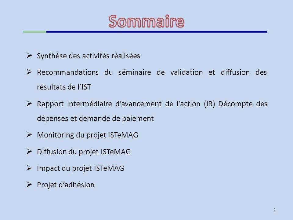 2 Synthèse des activités réalisées Recommandations du séminaire de validation et diffusion des résultats de lIST Rapport intermédiaire davancement de laction (IR) Décompte des dépenses et demande de paiement Monitoring du projet ISTeMAG Diffusion du projet ISTeMAG Impact du projet ISTeMAG Projet dadhésion