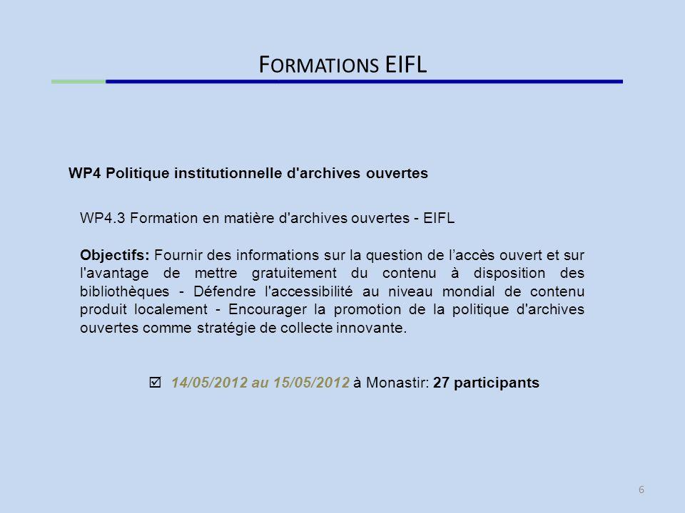 D IFFUSION WP5.3 Journées de dissémination et Conférence finale 30/05/2012 au 31/05/2012 à Alger: Journée de dissémination et participation aux JEBU 19 participants appartenant au consortium ISTeMag WP5 Diffusion 7