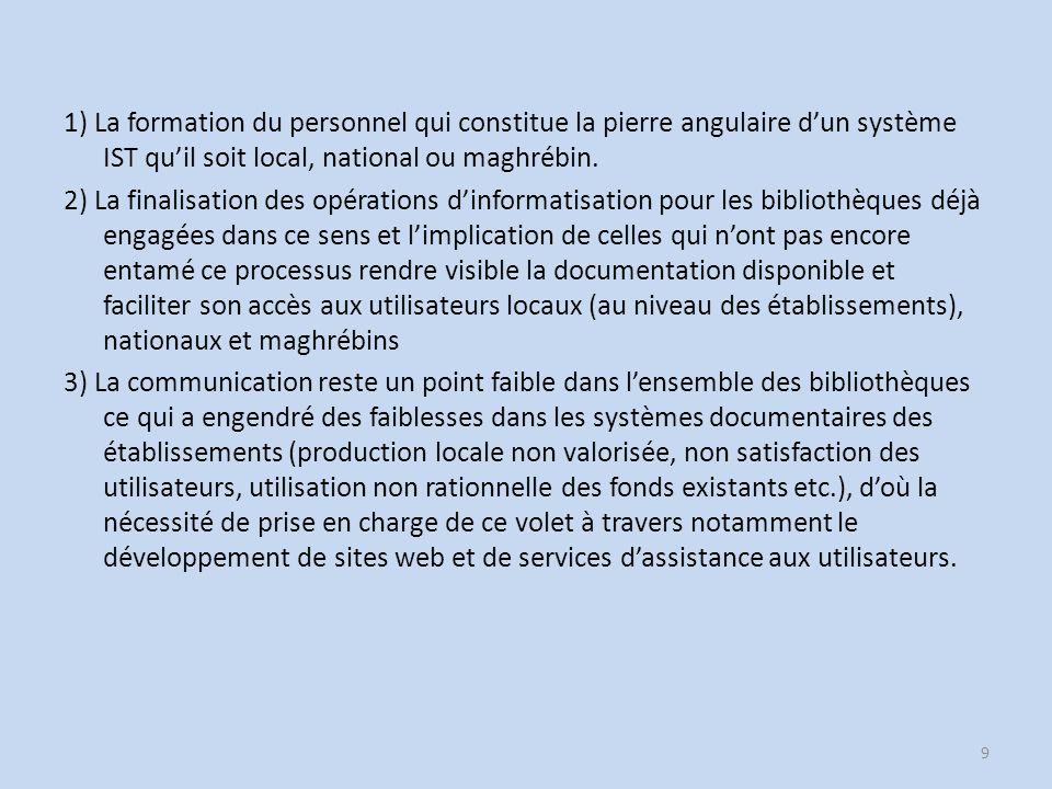 1) La formation du personnel qui constitue la pierre angulaire dun système IST quil soit local, national ou maghrébin.