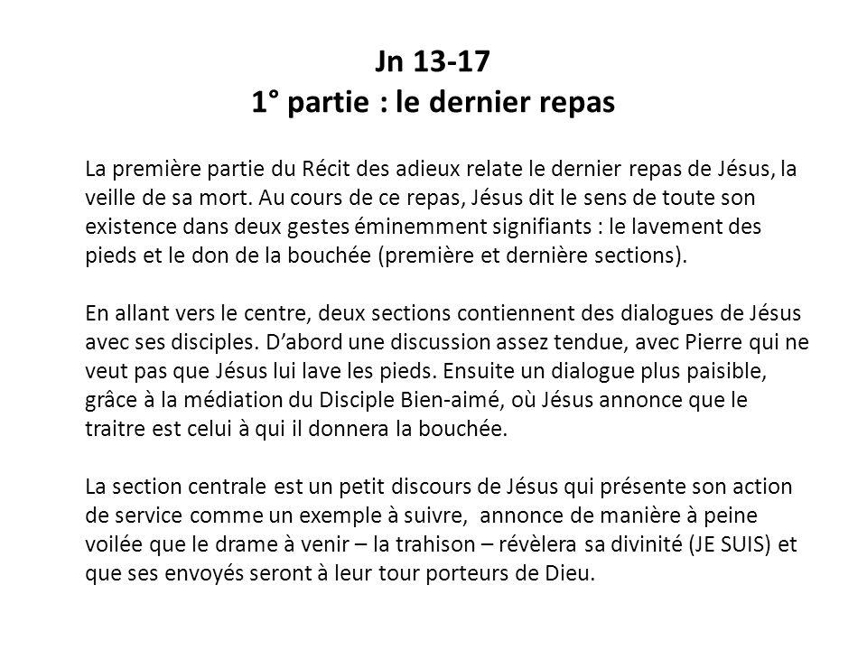 Jn 13-17 1° partie : le dernier repas La première partie du Récit des adieux relate le dernier repas de Jésus, la veille de sa mort.