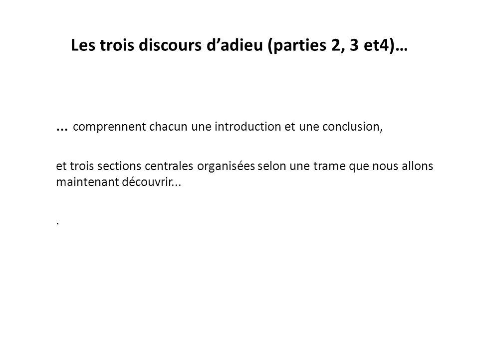 Les trois discours dadieu (parties 2, 3 et4)… … comprennent chacun une introduction et une conclusion, et trois sections centrales organisées selon un