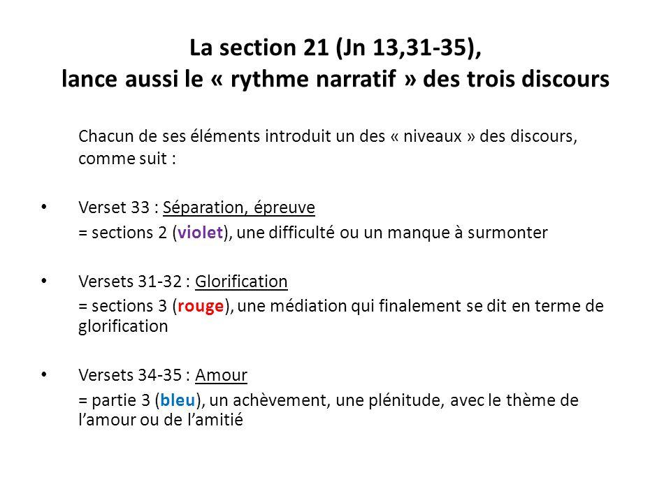 La section 21 (Jn 13,31-35), lance aussi le « rythme narratif » des trois discours Chacun de ses éléments introduit un des « niveaux » des discours, c