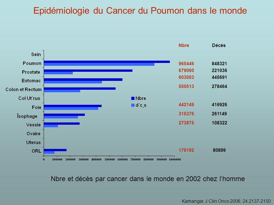 550513 278464 679060 221036 603003 445691 965446 848321 442149 416926 315376 261149 273875 108322 176192 80899 Nbre Décès Nbre et décès par cancer dans le monde en 2002 chez lhomme Kamangar, J Clin Onco 2006; 24:2137-2150 Epidémiologie du Cancer du Poumon dans le monde